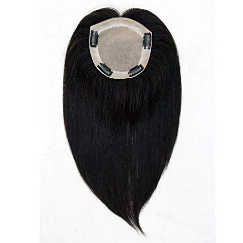 UniWigs Remy Human Hair Topper Pieces, 12 inches Natural Straight, Silk Skin Top Base Natural Parting Line For Hair Loss or Thinning Hair (NB)