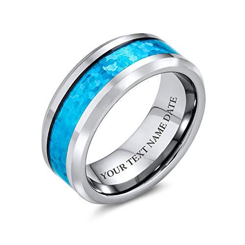 Bling Jewelry Ópalo Azul Simulado Personalizada Inlay Parejas Banda Boda Anillo De Tungsteno para Hombres Y para Mujer 8Mm Grabado