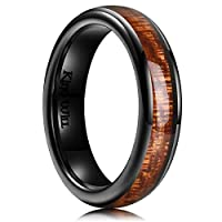 Real Wood Inlay and Classic Domed Design, 5mm is both suitable for men and women Genuine ceramic ring brings you lightweight and comfortable feeling, but solid enough Perfect wedding Band, engagement Ring, promise Ring for Men and Women who desires a...