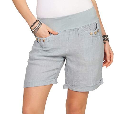 Mississhop 293 Damen Leinenshorts Bermuda lockere Kurze Hose Freizeithose 100% Leinen Shorts mit DREI Knöpfen Sommer Strand Grau L