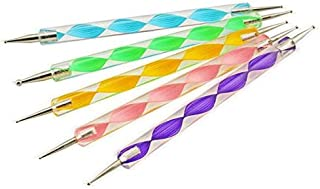 5pcs 2way Nail Art Design Set Dotting Painting Drawing Brush Polish Marbleizing Pen Tools on Natural nails polish plastics...