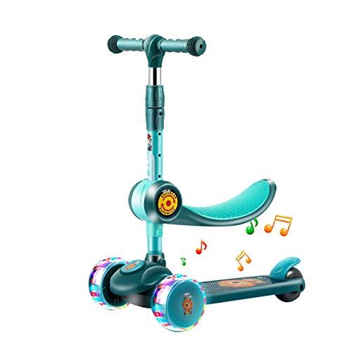 househome Patinete infantil plegable 3 ruedas LED 2 en 1 Patinete infantil plegable con asiento plegable y luminoso ruedas giratorias, patinete ajustable para niños de 3 a 8 años