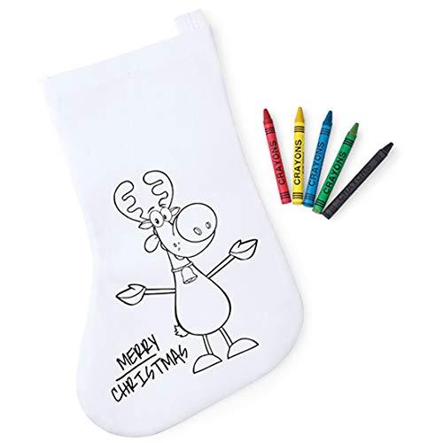 Lote de 30 Calcetines Infantiles Navidad para Colorear. Incluye 5 Ceras por Calcetin - Bolsas para Pintar y Colorear Infantiles Navideñas Papa Noel - Regalos Originales Navidad Niños …