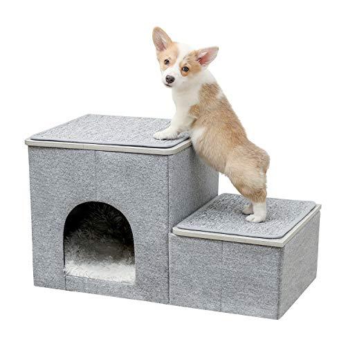 [Amazonブランド] Umi(ウミ) - 犬ステップ 収納ボックス ドッグステップ 小型犬用階段 ペットステップ 2段 ミニチュアダックス チワワ プードル ヘルニア 高齢犬 シニア犬 スロープ 踏み台 介護用品 多用 折りたたみ - グレー