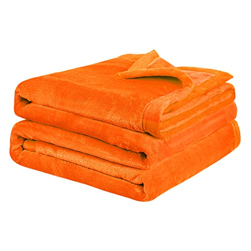 PiccoCasa Flannel Fleece Blanket Twin XL Size - Soft Warm Thick All Season Blanket for Couch Sofa Bed Traveling - Lightweight Microfiber Plush Bed Blankets (65 x 90 Inches,Orange)