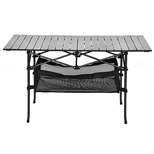 Cocoarm Klappbarer Campingtisch, Picknicktisch aus massiver Aluminiumlegierung Tragbarer Klapptisch mit Große Netztasche für Camping Picknick Kochen Garten Wandern Reisen 118x55x67cm
