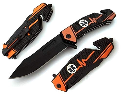 KOSxBO® ERK Rettungsmesser - Zweihandmesser inklusive Gürtelschneider - Glasbrecher - Emergency Rescue Knive 22,3 cm - Firefighter Knife Edition