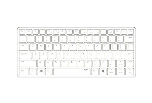 Rapoo E6350 Bluetooth Ultra-Slim toetsenbord (multimedia sneltoetsen, Duitse lay-out) wit-zilver