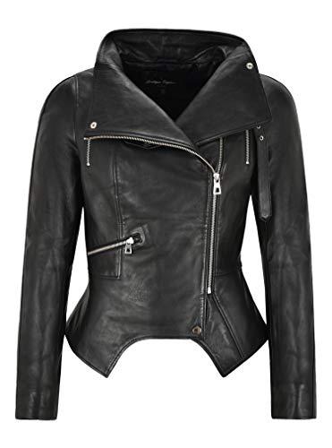 1409/5000 ジェニファーレディースファッションレザージャケットブラッククロップドノッチボトムリアルレザー (14)