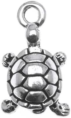 TierraCast Fine Silver Plated Pewter Turtle Charm 17.5mm Lucky It is Rare very popular