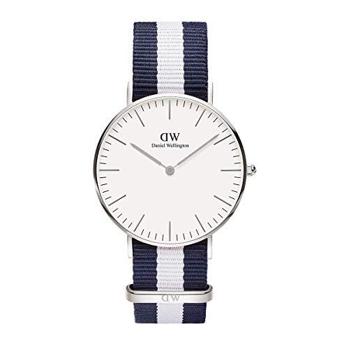 Daniel Wellington Classic Glasgow, Blau-weiß/Silber Uhr, 36mm, NATO, für Damen und Herren