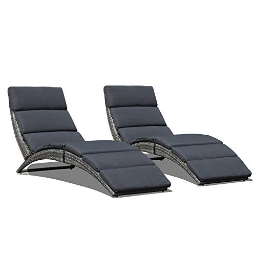 JOIVI Patio Chaise Lounge, Outdoor Lounge Chair, PE Rattan Foldable Chaise Lounger with Removable Dark Gray Cushion, Suitable for Poolside, Garden, Balcony 2 Pack
