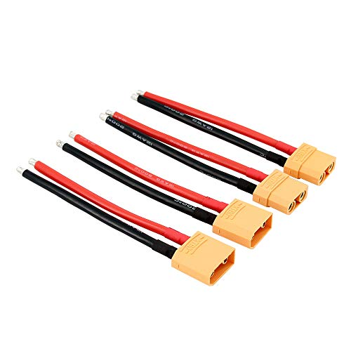 OliYin 2pairs XT90 Plug XT-90 Cavo Maschio Femmina con Cavo con Filo Slicone 12awg 10cm per Batteria LiPo RC FPV Turnigy / Zippy (Confezione da 2)