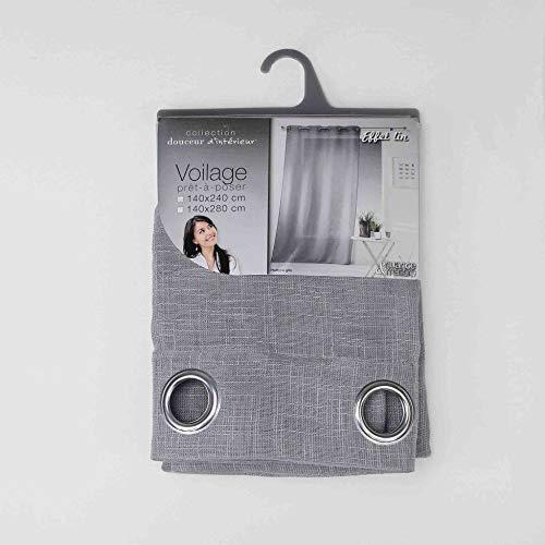 Douceur d' interno haltona Pannello a occhielli, poliestere, grigio, 280x 140cm