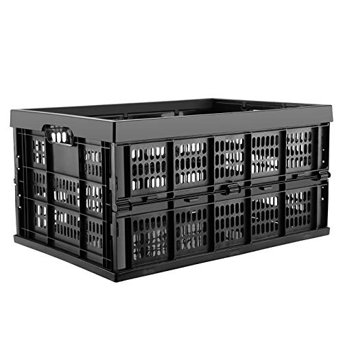 45 Liter Collapsible Storage Crate - Plastic Storage Bin Container Stackable Milk Crate with Handle Utility Basket/Tote for Toys Food Clothes Tools in Kitchen Bathroom Garage Outdoor