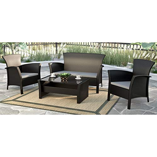 UKN Cascade Black Rope Weave 4-Piece Patio Set Grey Modern Contemporary Glass Rattan Steel Coffee Table Removable Cushions Weather Resistant