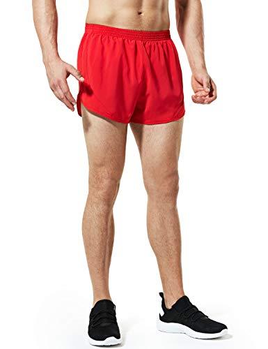 TSLA Men's Active Running Shorts, 3 Inch Quick Dry Mesh Jogging Workout Shorts, Gym Athletic Marathon Shorts with Pockets, Paceshorts(mbh23) - Red, Medium