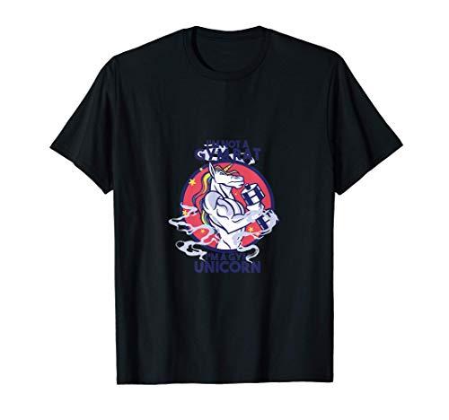 Unicornio de gimnasio, diseño divertido. Camiseta