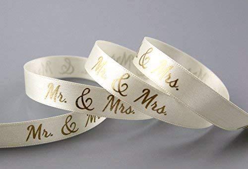 Dekoband Mr & Mrs Creme Gold 3 m x 15 mm (1,00€/m) Geschenkband Hochzeit Wedding Satinband für Hochzeitsgeschenk Deko Hochzeitsalbum Schleifenband von FINEMARK