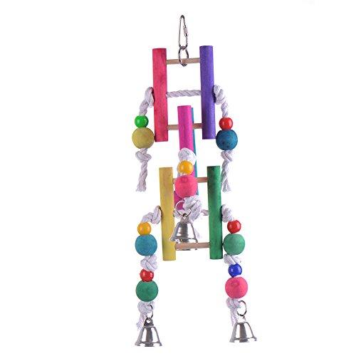 à suspendre en bois Parrot Volière Bird Échelle Bird balançoires jouet avec corde et grelots