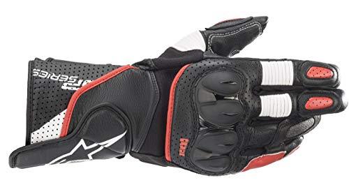 SDDISTRIBUZIONE Alpinestars SP-2 V3 - Guantes de piel para moto, color negro, blanco y rojo, XL