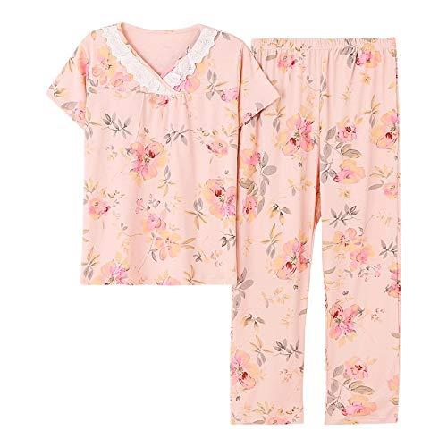 DFDLNL V-cuello de encaje y estampado de flores pijama conjunto verano casual pijamas para las mujeres ropa de dormir manga corta ropa de dormir XL MT1293