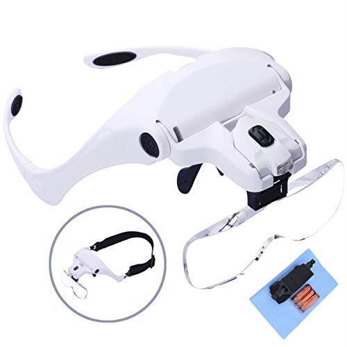 Head Mount Magnifier with 2 Led Professional Jeweler's Loupe Light Bracket and Headband are Interchangeable for Close Work, Jewelry Loupe, Watch Repair etc.(Battery Included)