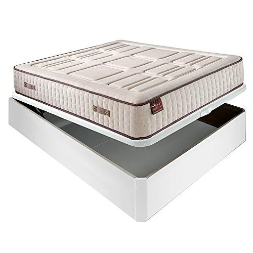 Colchón HR Cotton con visco 27 cm Extra Firme Transpirable + Canapé abatible Madera 3D Transpirable Altura 34 cm - Blanco, 150x190cm