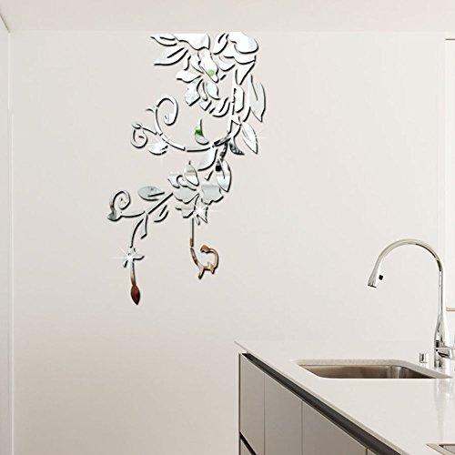 Wandaufkleber mit Blumenranken, anmutig, 3D-Effekt, selbstklebend, modern, stilvoll, modisches Design, abnehmbar, Acryl-Wandaufkleber, für Schlafzimmer, Zuhause, 49 Stück, 140 x 81 cm, Silber und Gold