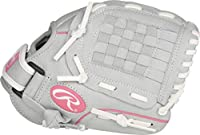 Rawlings Sure Catch Series Fastpitch Softball Glove, Pink/Grey/White, Right Hand Throw