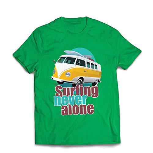 lepni.me Männer T-Shirt Surfen nie allein, Retro-Van, Surfer-Ferienkleidung (Small Grün Mehrfarben)