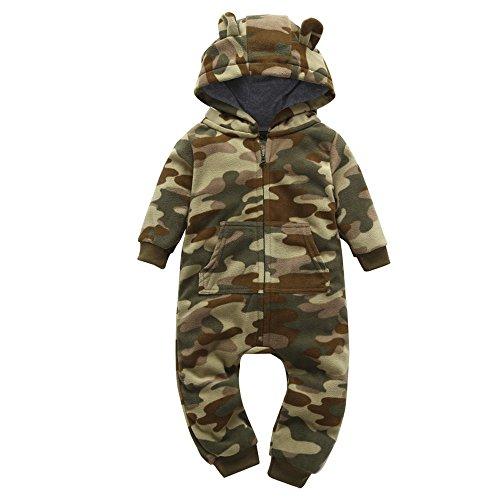 Ropa de una Pieza para bebés niño,Subfamily Monos para bebés niño/Mono de Lana con Capucha de Camuflaje para niños.