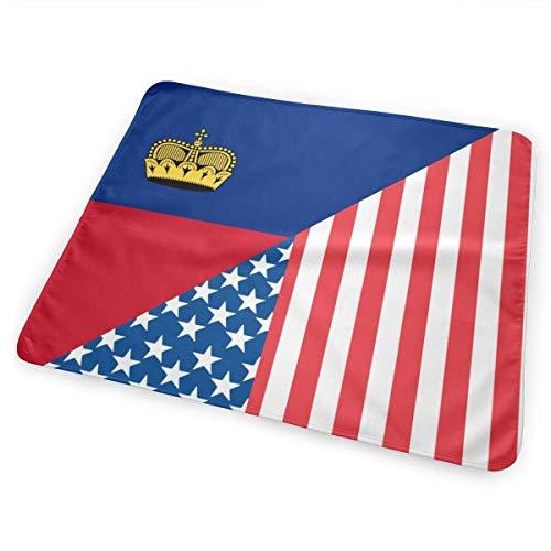 Amerikaanse en Liechtenstein Vlag Veranderende Pad Waterdichte Herbruikbare Grote Baby Veranderende Mat om Luier Matrasbeschermer Cover voor Jongen en Meisje Pasgeboren (25.5â€x31.5â€)