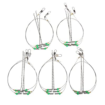 Broadroot 5pcs Anti-Winding 6 String Fishing Hook Steel Rigs Wire Leader Hooks by Broadroot