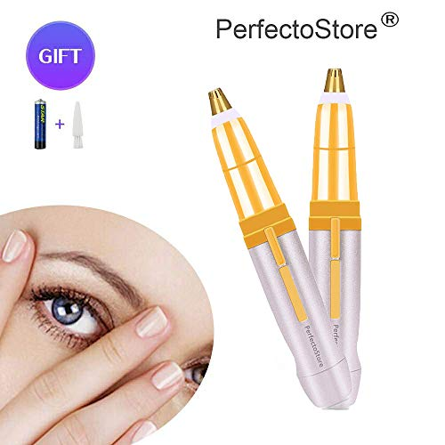 Perfectostore Eyebrows Remover Trimmer Razor Shaver Electric Facial Hair Remover, Flawlessly Hair Remover Brows Best Eyebrow Trimmer, PerfectoStore Women's Painless Hair Remover (Gold)