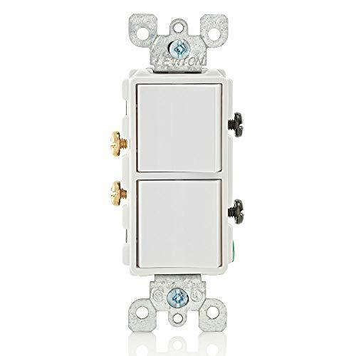 Leviton 5634-W 15 Amp, 120/277 Volt, Decora Single-Pole, AC Combination Switch, Commercial Grade, Grounding, White