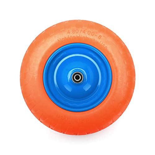 Queiting Vollgummi-Wagenrad Gummi-Rad Schubkarre Reifen Ersatzreifen Vollgummi PU-Reifen Schubkarre Rad Vollgummi Durchdringungssicheres Achsersatzreifen Wagenrad Orange