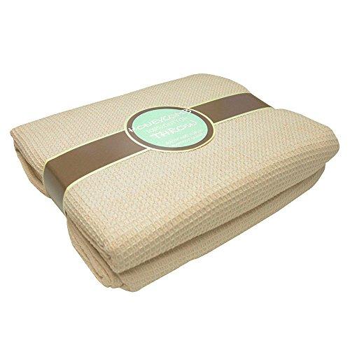 Tony's Textiles groot formaat crème natuurlijke 100% katoen traditionele geweven honingraat Wafel stoel bank Settee Bed deken gooien over cover sprei