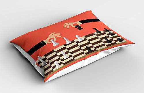 ABAKUHAUS Bordspel Siersloop voor kussen, Cartoon Schaken 2 Hands, standaard maat bedrukte kussensloop, 75 x 50 cm, Coral Black
