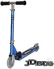 JD Bug Junior Street Folding Kids Scooter, for Boys and Girls Aged 4+, Adjustable Handlebar Height (Reflex Blue)