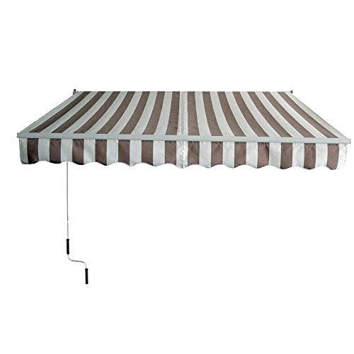 Aufun Toldo de aluminio y poliéster, protección solar con manivela, resistente al agua, anti UV para jardín, terraza, exterior (200 x 250 cm, gris oscuro), 250 x 200 cm, color beige.