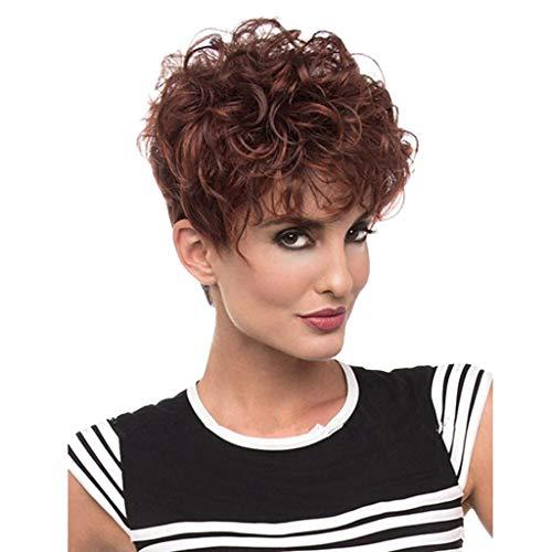Femme Perruques Bresiliennes Cheveux Naturels Court Curly Sexy Mode Chic Marrron Postiches BoucléS (Marron)