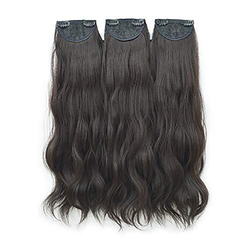 3 piezas de rizador largo ondulado de agua, piezas de peluca de seda mate de alta temperatura, gruesas y esponjosas, sin rastros, invisible y natural (marrón oscuro oscuro, 65 cm)