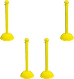 Mr. Chain Heavy-Duty Stanchion, Yellow, 41-Inch Height, 3-Inch Diameter Pole, Pack of 4 (99902-4)