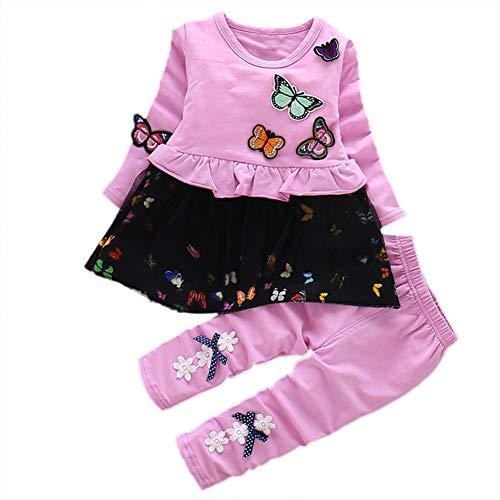 BOBORA Ensemble Bebe Fille, T-Shirt à Manches Longues en Coton et Papillons + Pantalons Leggings Bowknots, Vêtements d'automne 2PCs pour Les Bébé Filles 1-4Ans