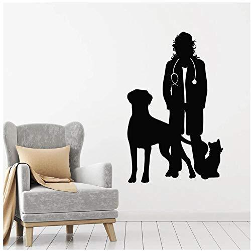 KBIASD Vet perro gato pared calcomanía silueta vinilo ventana pegatinas clínica veterinaria tienda de mascotas salón de belleza decoración Interior arte Mural 42x65cm