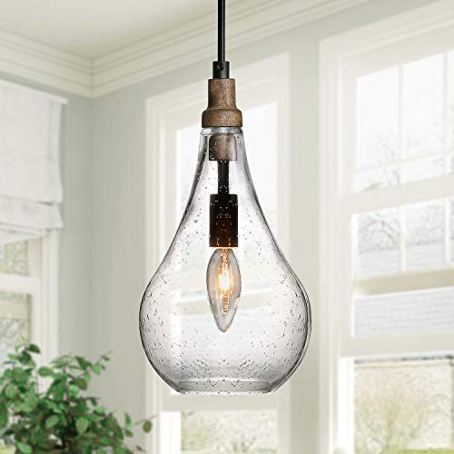 KSANA Wood and Glass Pendant Light for Kitchen Island and Dining Room Farmhouse, Seeded, Black