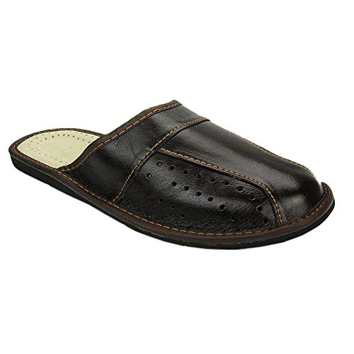 BAWAL Pantofole da Uomo Pelle Marrone Slippers Ciabatte 40-46 EU (46 EU, Marrone)