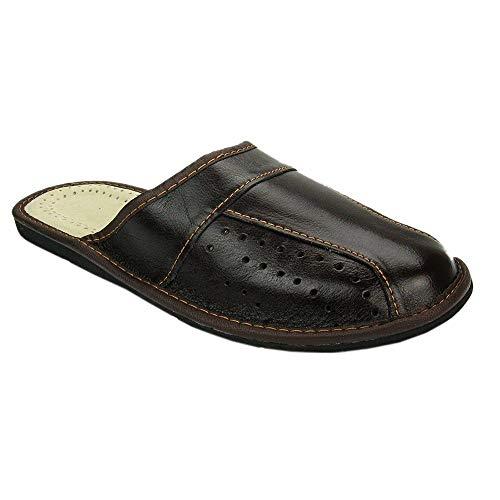 BAWAL Pantofole da Uomo Pelle Marrone Slippers Ciabatte 40-46 EU (43 EU, Marrone)