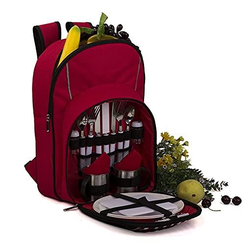 Picknick Set rot 2 Personen Picknick Rucksack Tasche mit Kühlfach Teller Besteck Luxus Picknick Rucksack Körbe für Pic Camping BBQ im Freien